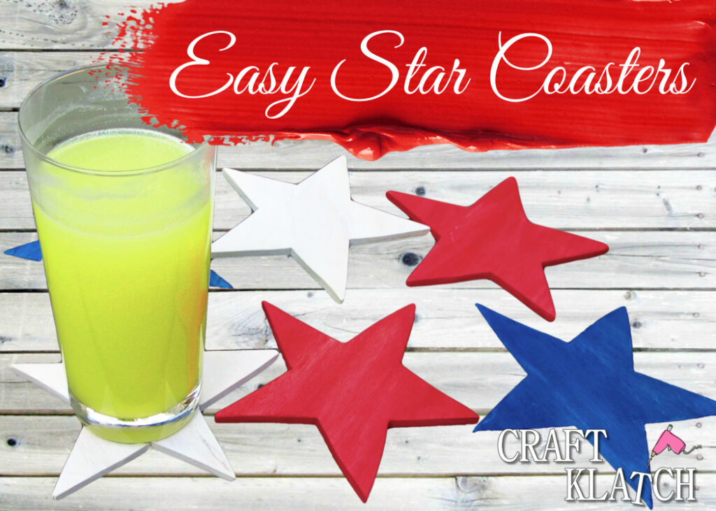 DIY Easy Star Coasters red, white and blue