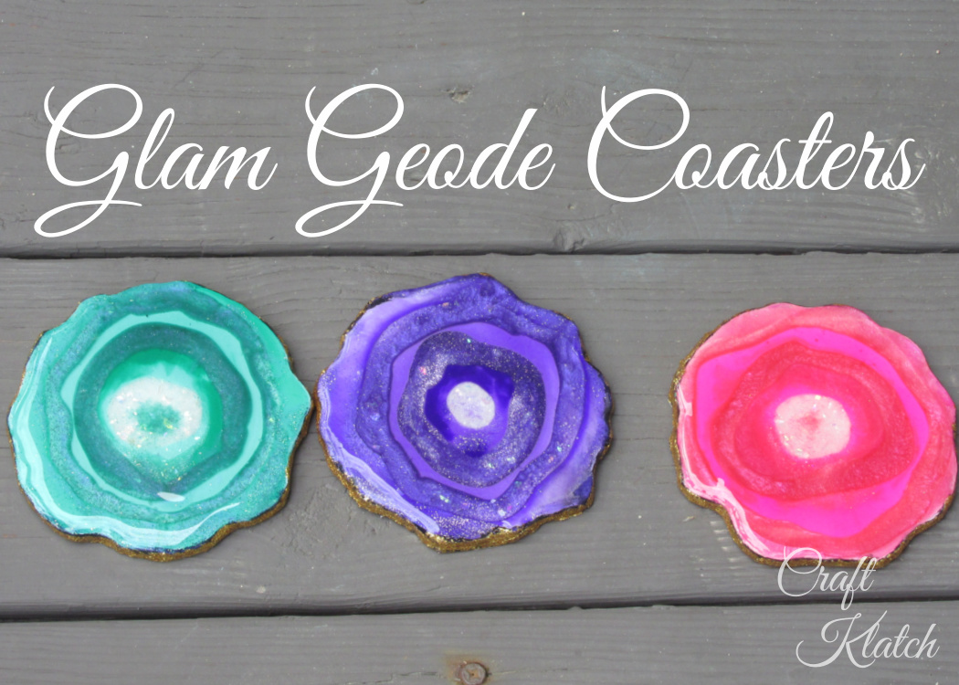 Green purple and pink glam geode coasters