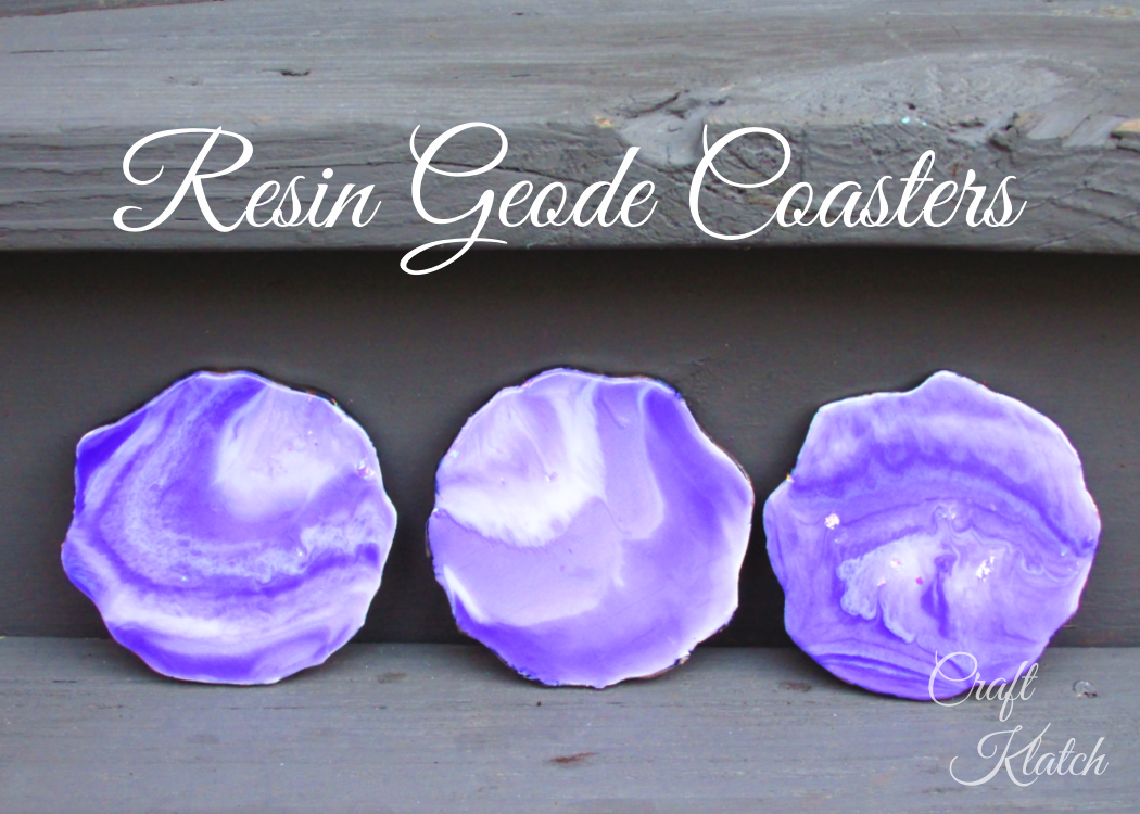 Three purple and white resin geode coasters