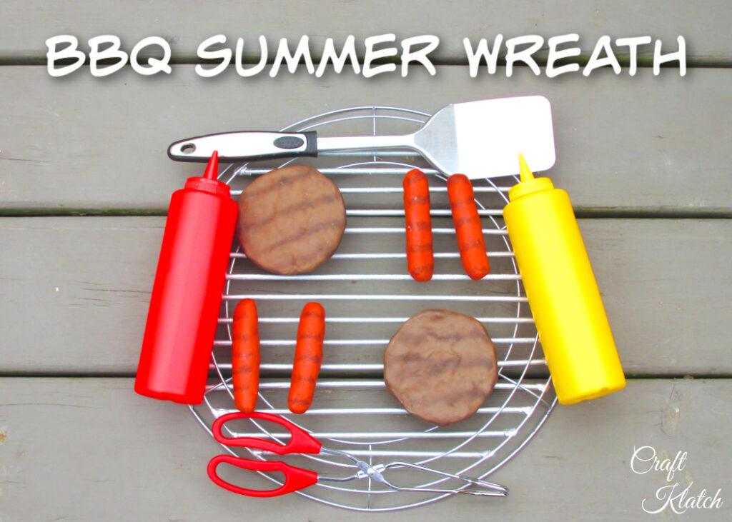 BBQ Summer Wreath with hamburger, hotdogs, ketchup, mustard and a spatula