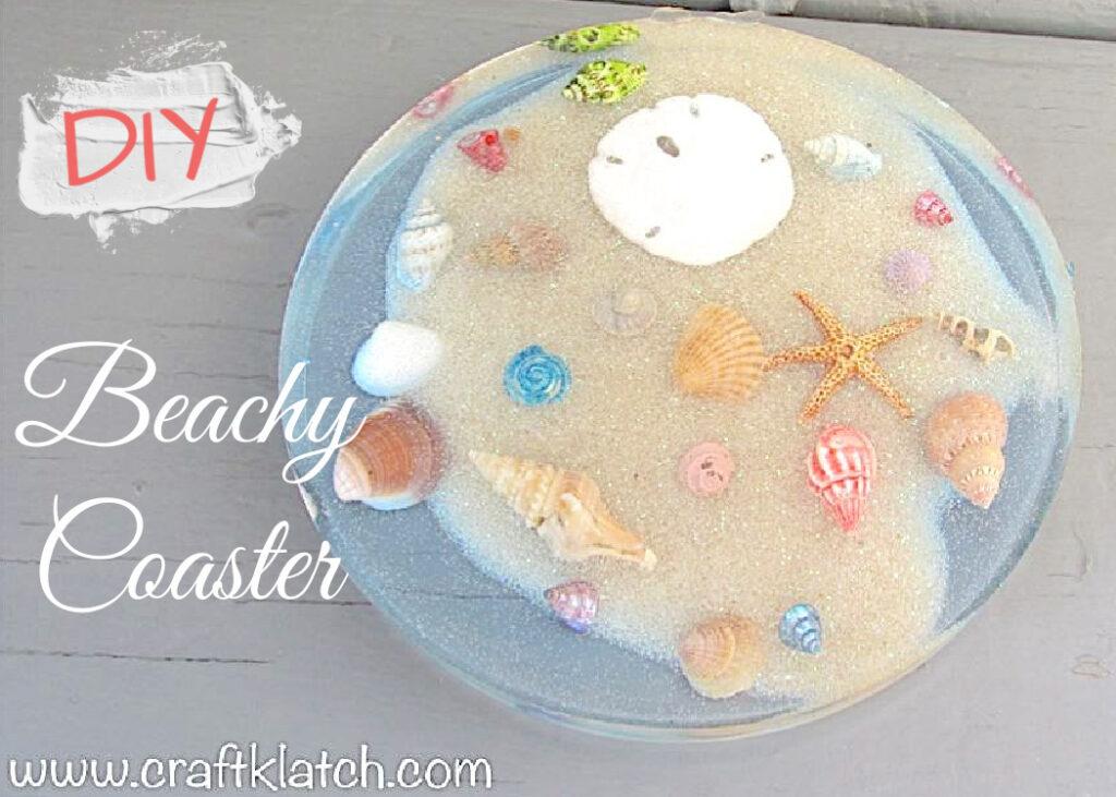 DIY Beachy resin coaster with sand, shells, starfish, sand dollar