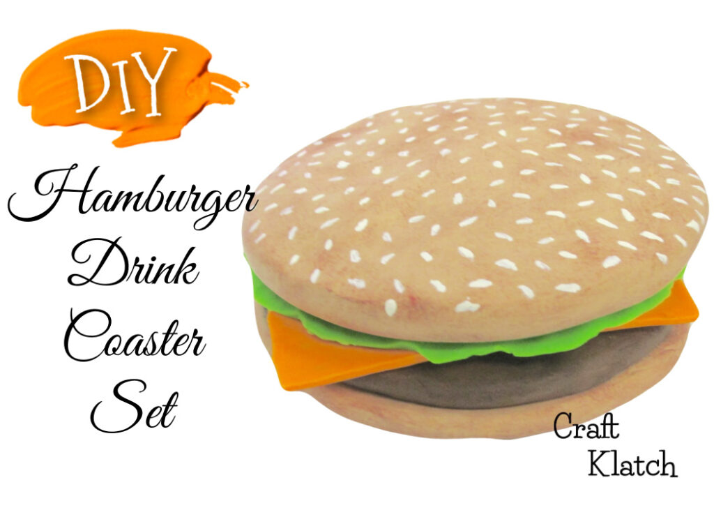 DIY Hamburger drink coaster set