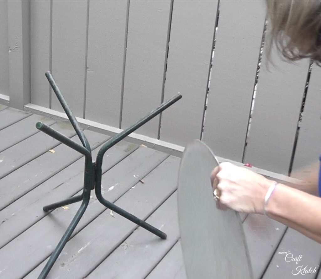 Take table apart by removing glass top for the table makeover