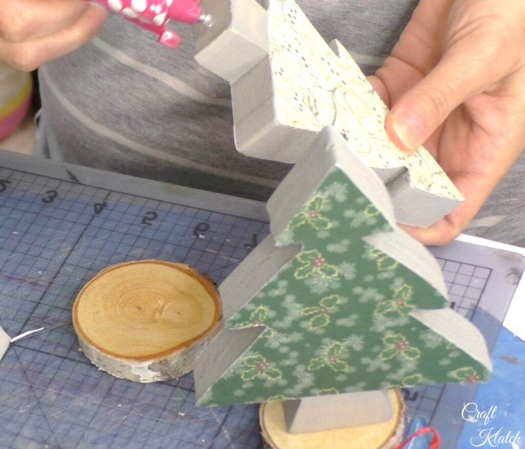 Add glue to bottom of wood Christmas Tree