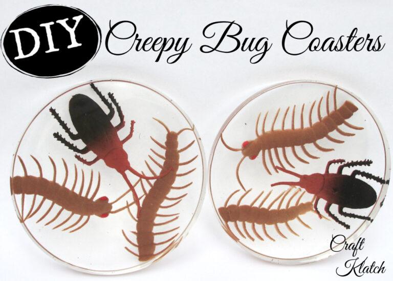 DIY creepy bug coasters