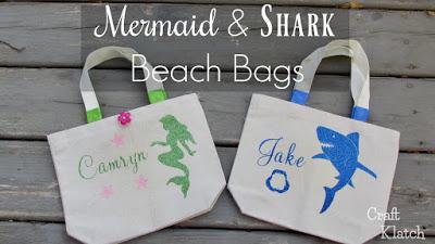 Learn how to make Mermaid and Shark Beach Bags! #shark #sharks #mermaid #mermaids #craft #crafts #crafting |shark | mermaid | mermaid crafts | shark crafts | diy | Cricut | Cricut crafts | iron on #cricut