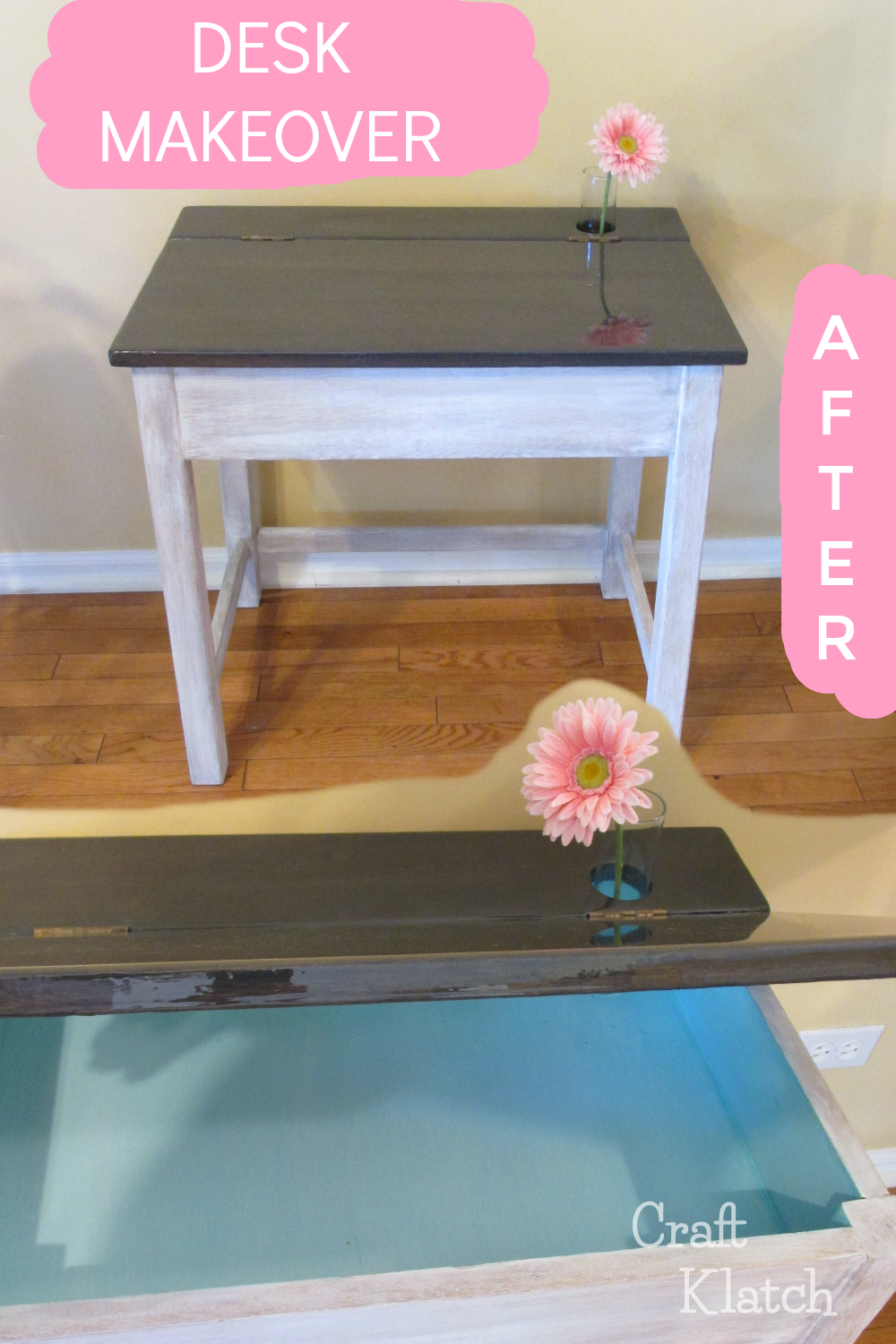 Gray and white desk after makeover using Unicorn Spit and Glazecoat