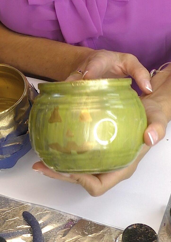 Green glass pumpkin decoration