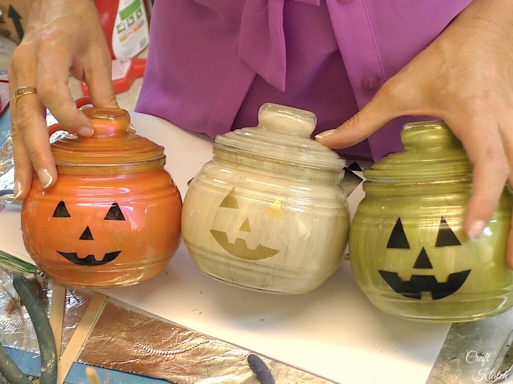 Finished glass pumpkin decorations, orange,green and ivory