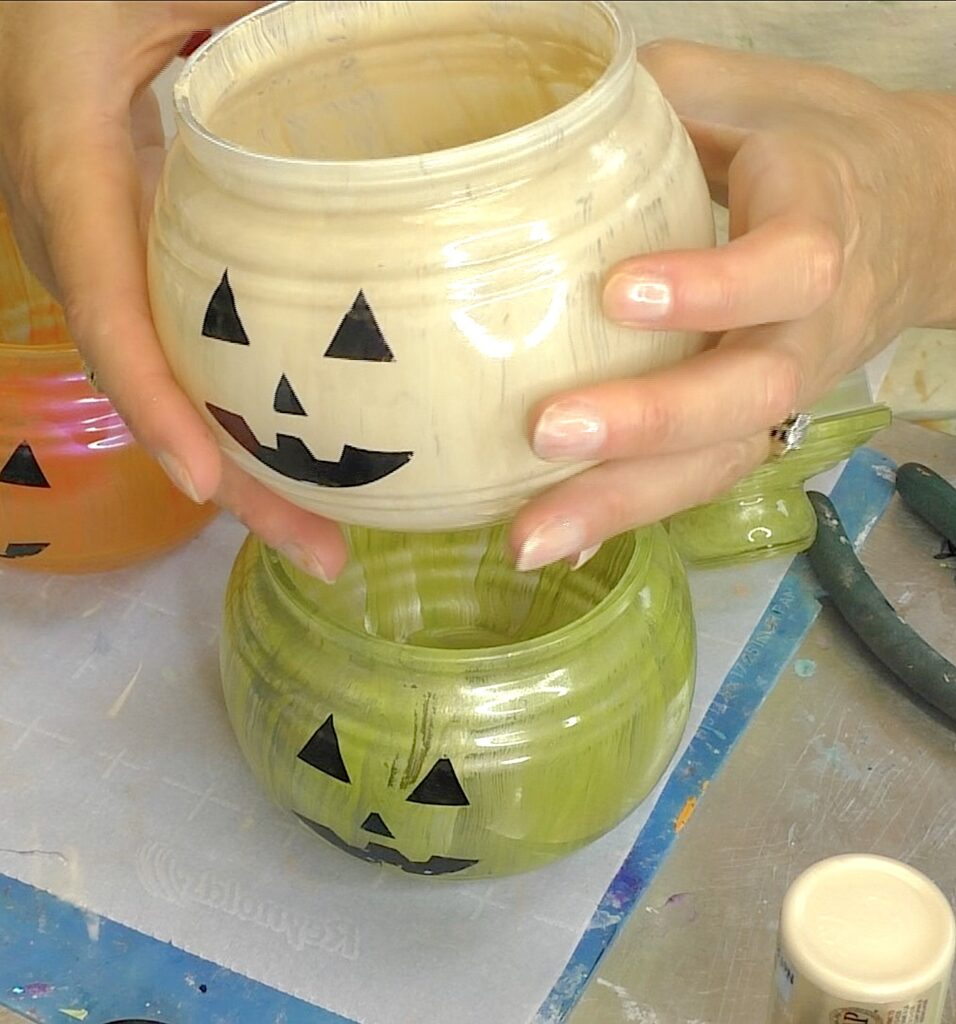 Ivory, orange and green painted glass pumpkin decorations