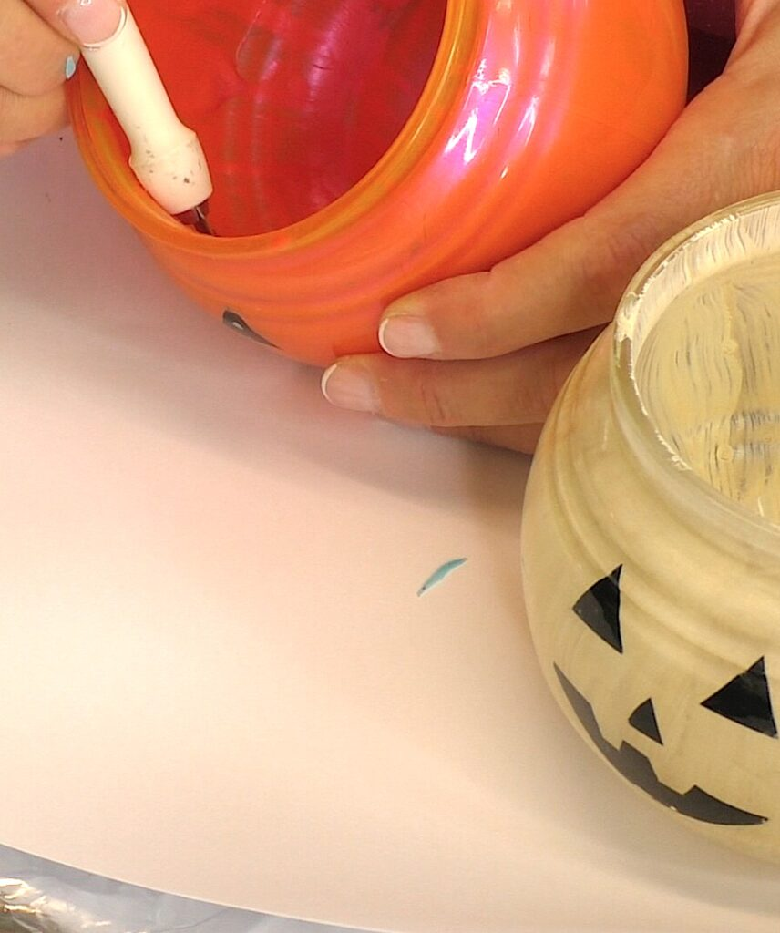 Remove vinyl from inside of the glass pumpkin decorations