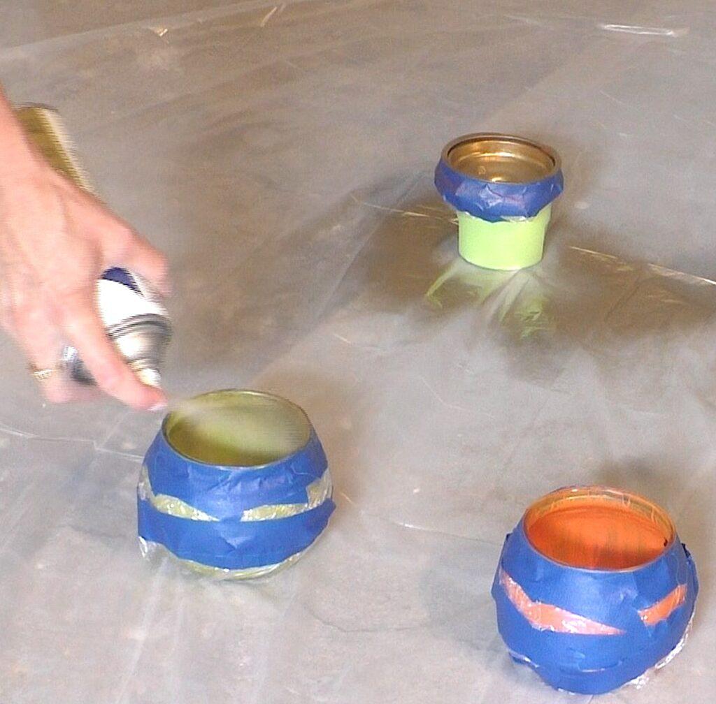 Spray paint the inside of glass pumpkins