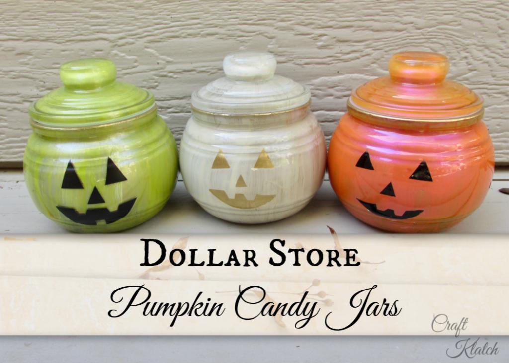 Dollar store pumpkin candy jar crafts in green, white and orange