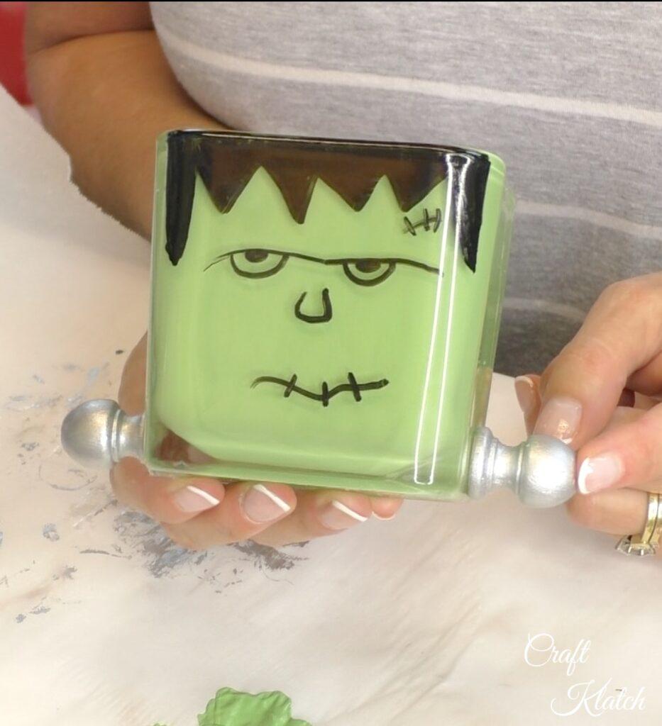 Completed Frankenstein craft votive