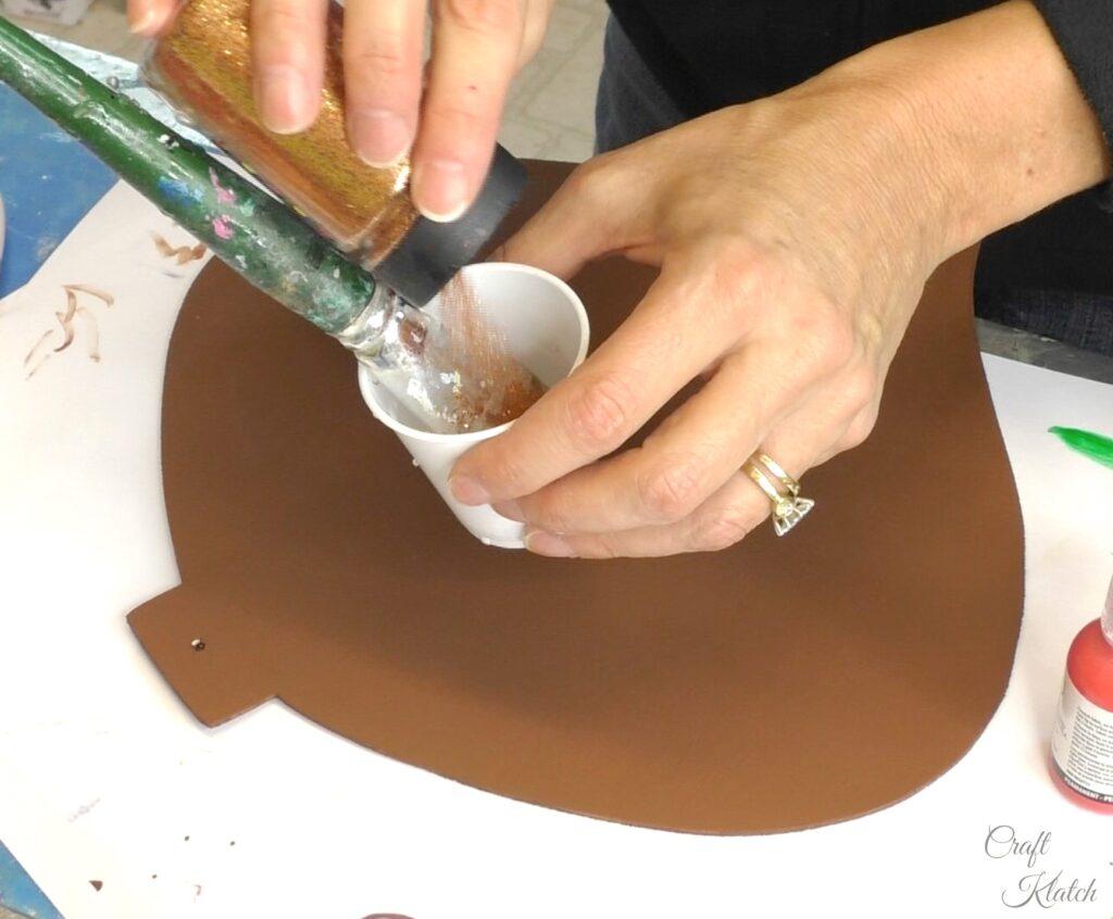 Adding copper glitter to matte varnish