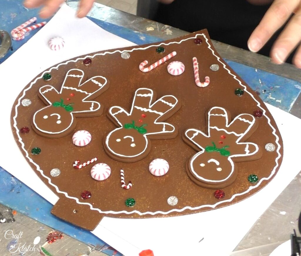 Partially finished gingerbread Christmas ornament