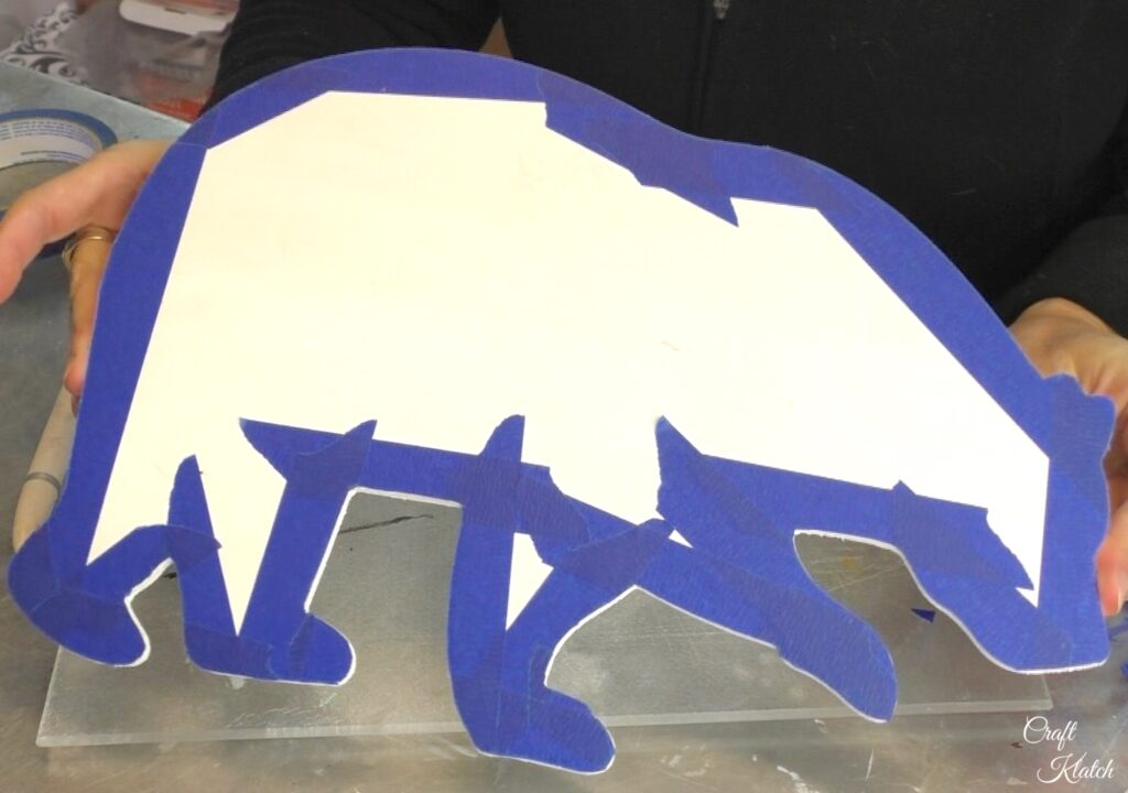 Back of polar bear with tape trimmed