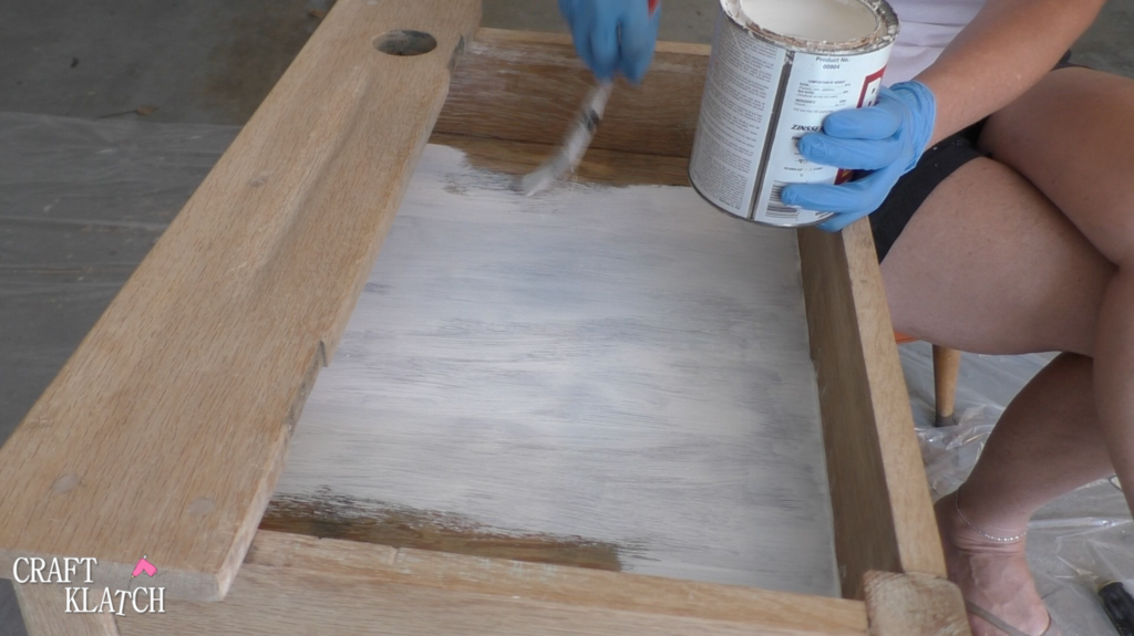 Painting inside of desk with primer to cover up stains