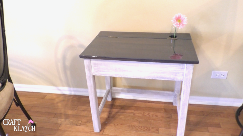 Gray and white stained desk after complete makeover with Unicorn Spit