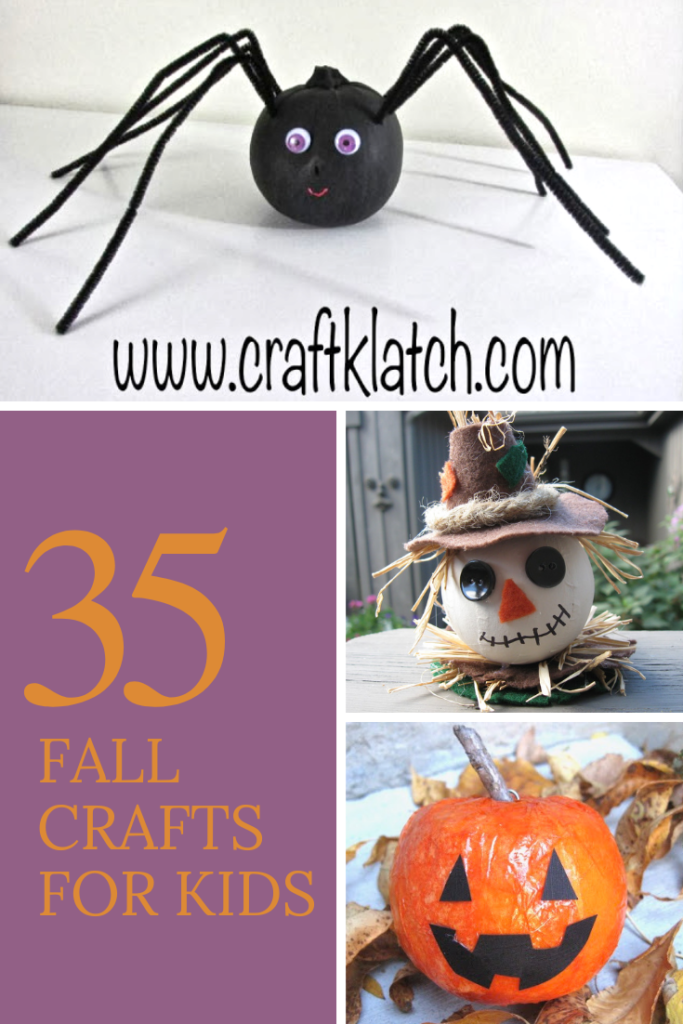 35 Fall crafts for kids with spider pumpkin, scarecrow ornament and orange styrofoam pumpkin