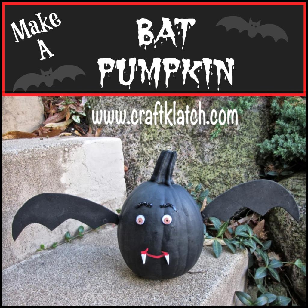 Black bat pumpkin craft with fangs, wings, and google eyes