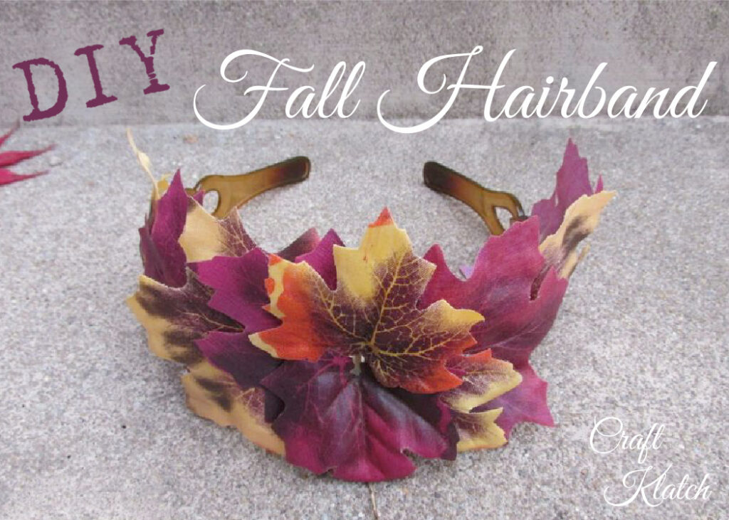 Hairband with fake leaves in yellow, orange and wine colors hair accessor