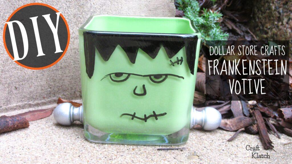 Green Frankenstein glass votive with silver bolts Halloween craft
