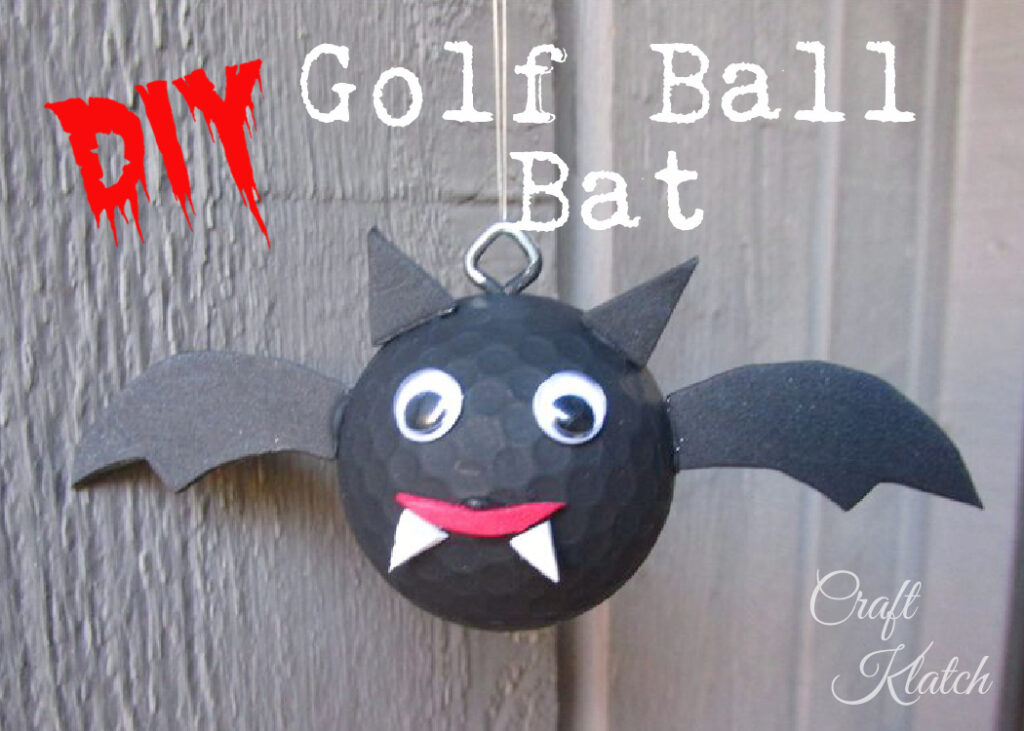 Black golf ball bat with wings, pointy ears, fangs and google eyes craft