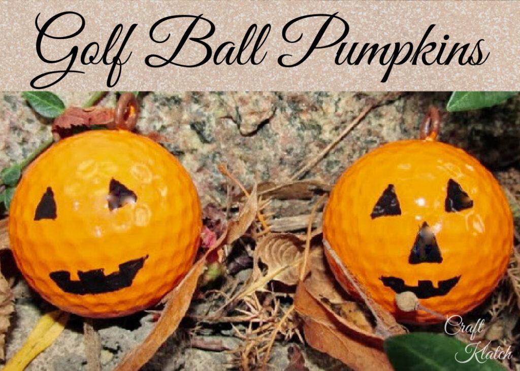 Golf ball pumpkins with black jack o lantern features