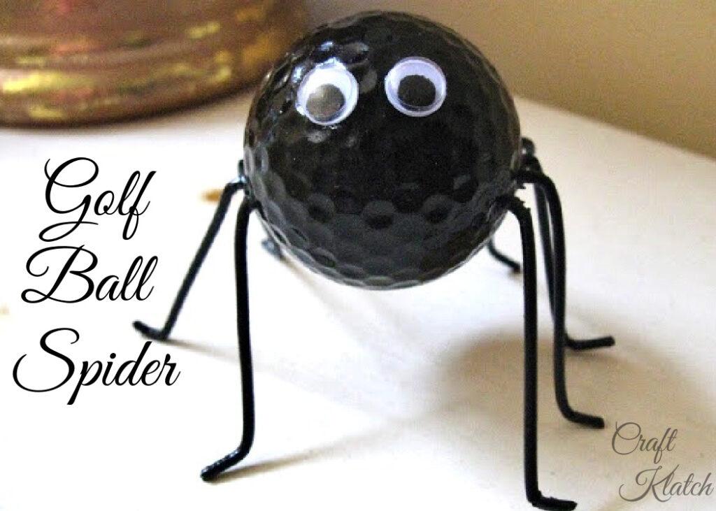 Halloween spider golf ball craft