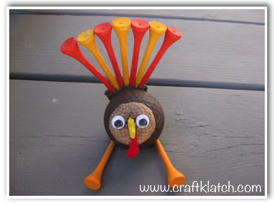 Turkey golfball for Thanksgiving fall crafts for kids