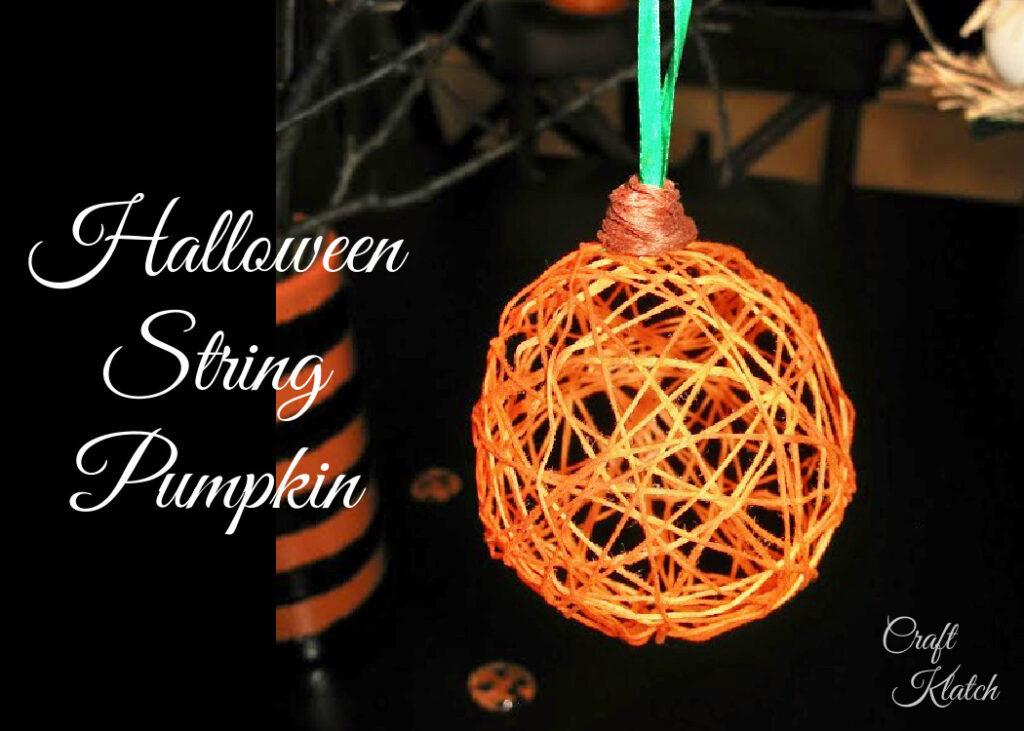 Orange string pumpkin fall crafts for kids