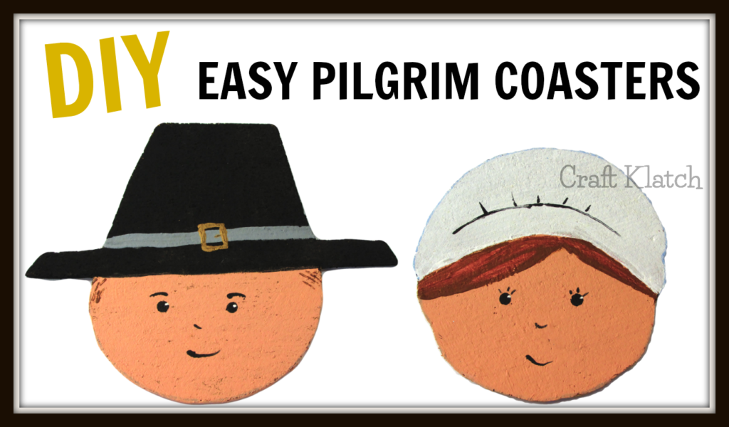 Thanksgiving painted cork pilgrim drink coasters fall crafts for kids