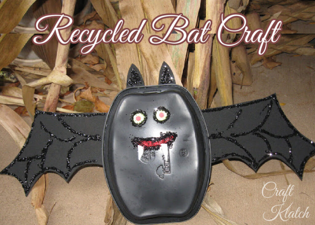 Recycled black bat craft for kids