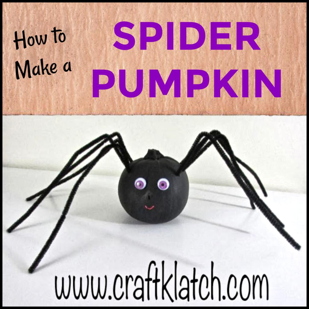 Black spider pumpkin fall crafts for kids