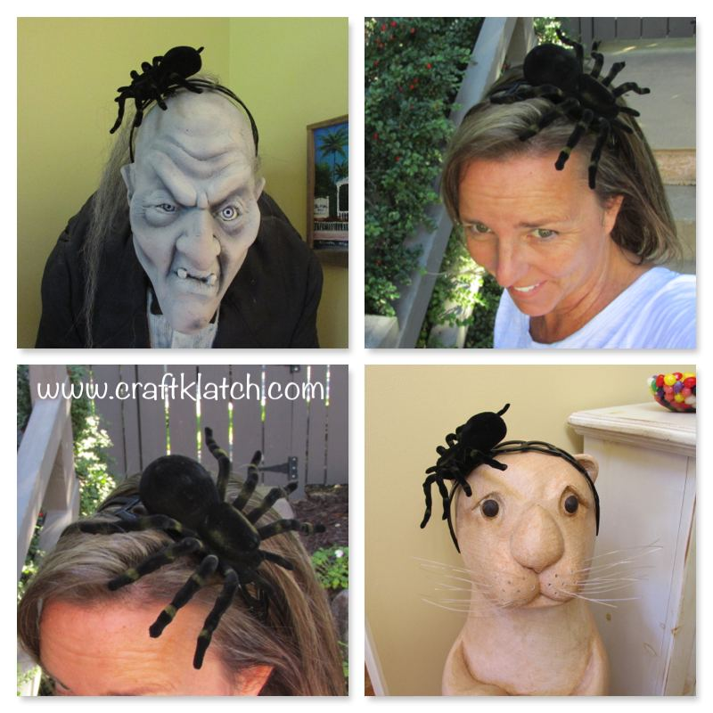 Spider hair accessory for Halloween fall crafts for kids