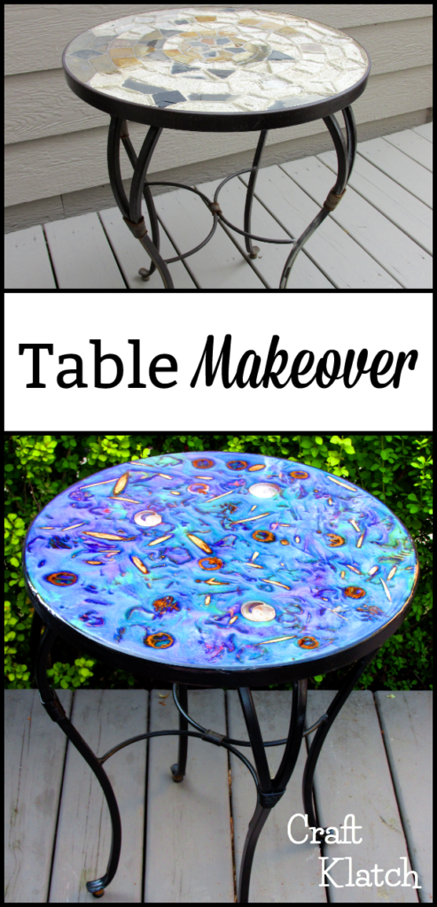 Glam Epoxy Resin Table before and after