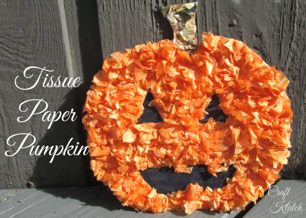 Tissue paper pumpkin crafts easy fall crafts for kids