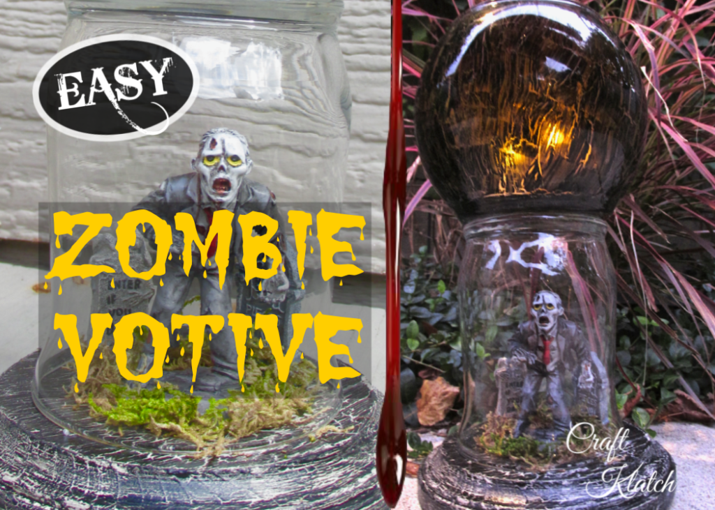 Zombie dollar store votive with zombie under glass and crackled black fishbowl votive on top craft