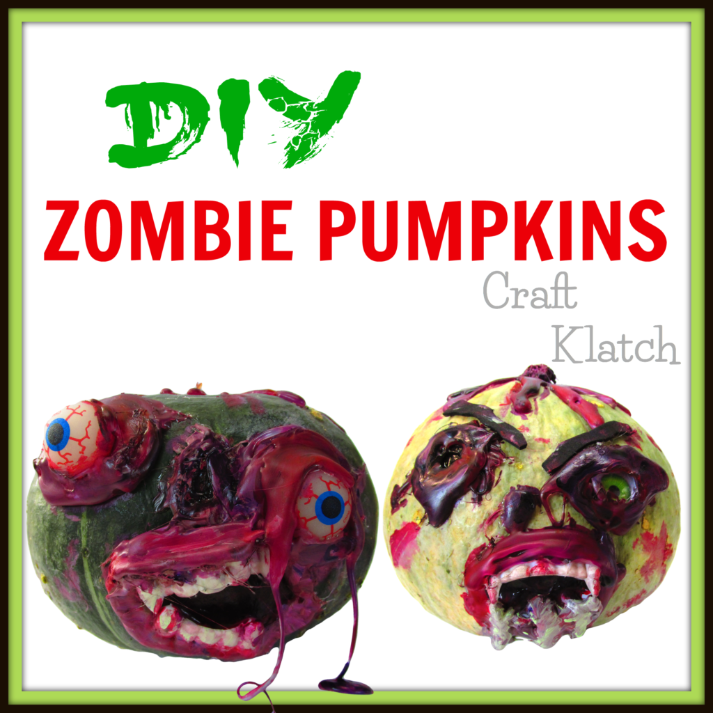 Zombie pumpkin crafts with teethe bloody faces and rotting flesh
