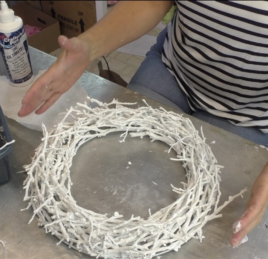 Wreath making with twigs