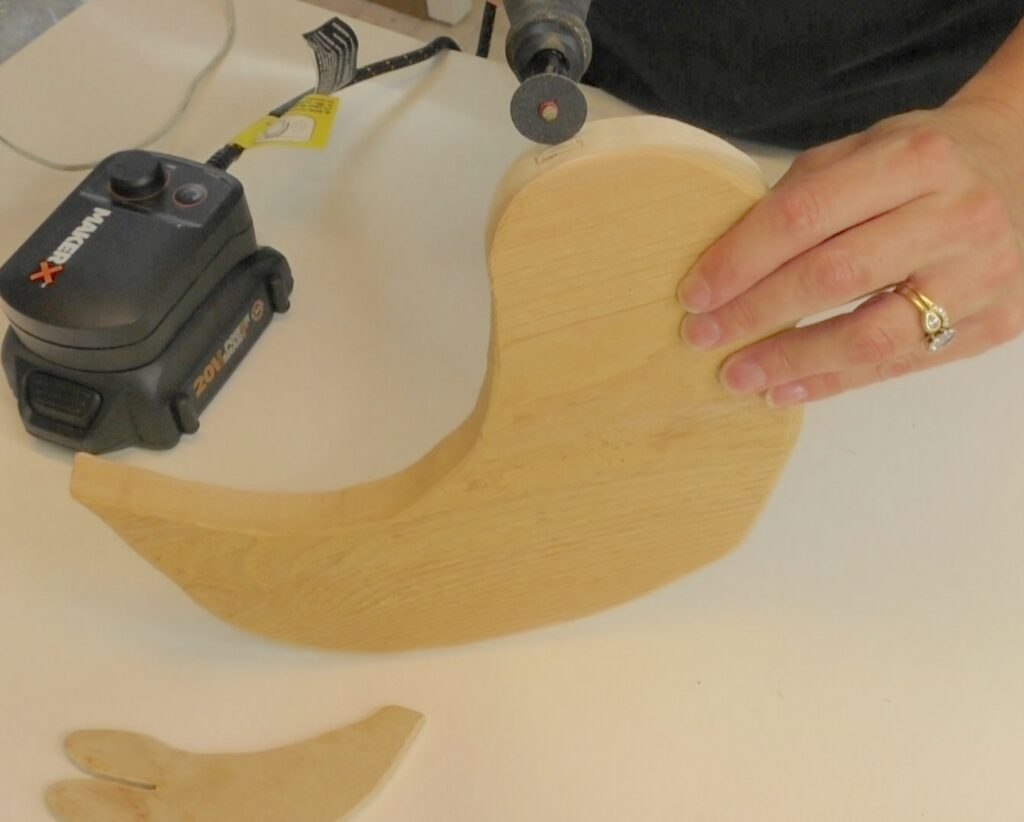Use rotary tool to cut wood
