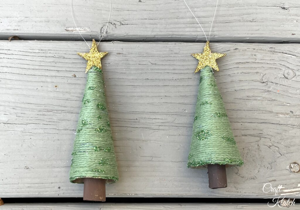 finished toilet paper roll christmas tree ornaments