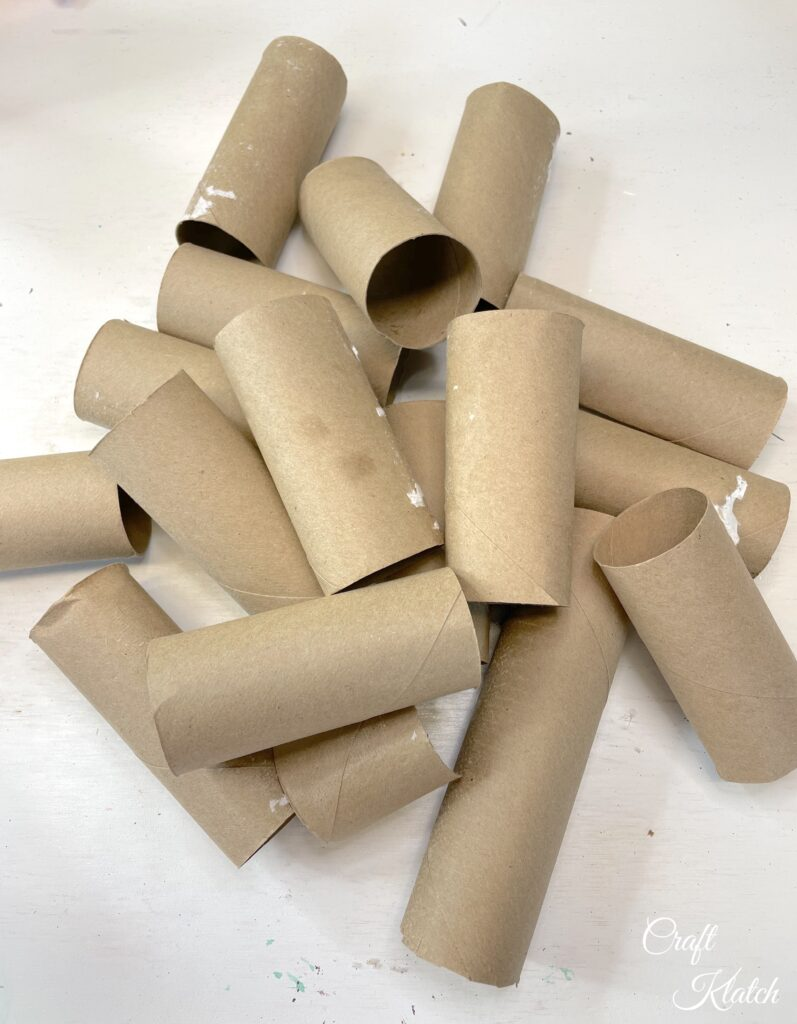 Pile of empty toilet paper rolls
