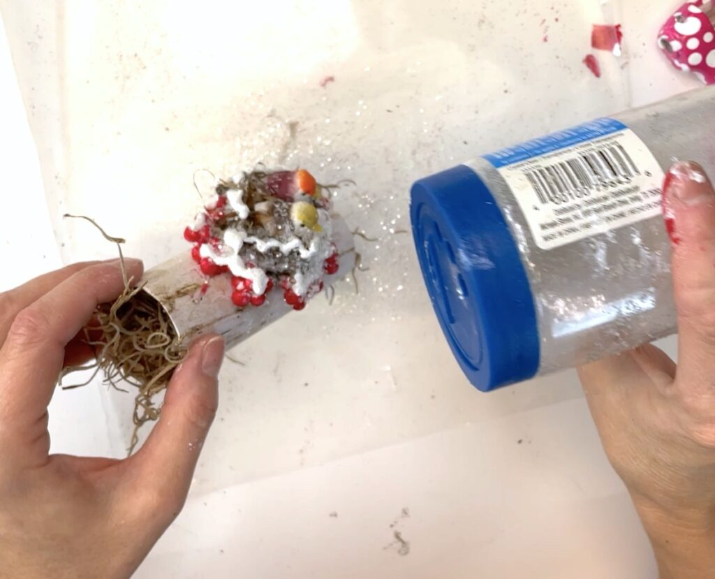 Sprinkle glitter onto wet paint for a frosty effect