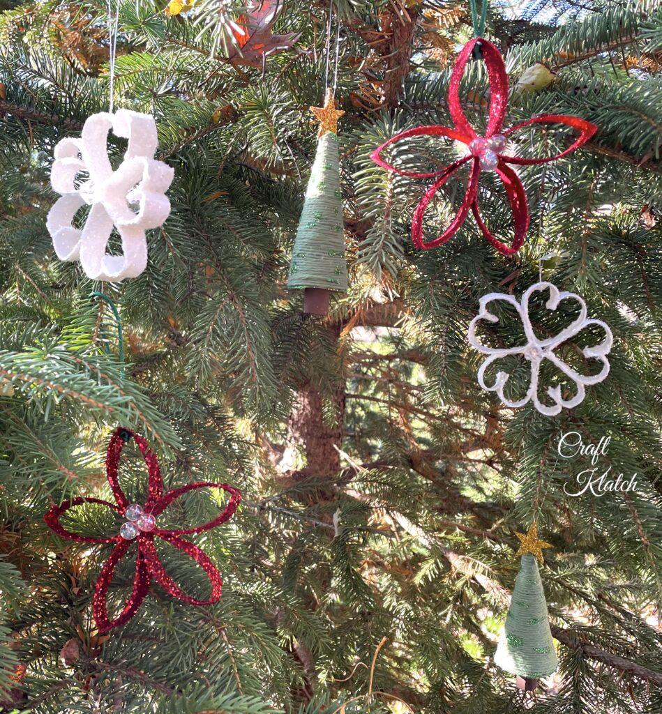 Grouping of handmade Christmas ornaments