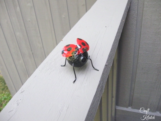 Finished ladybug sitting on railing