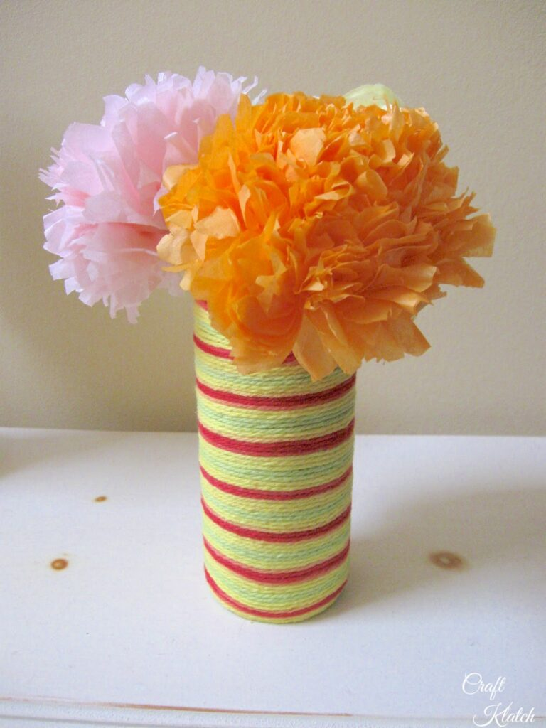 Tissue paper flower bouquet with a string vase